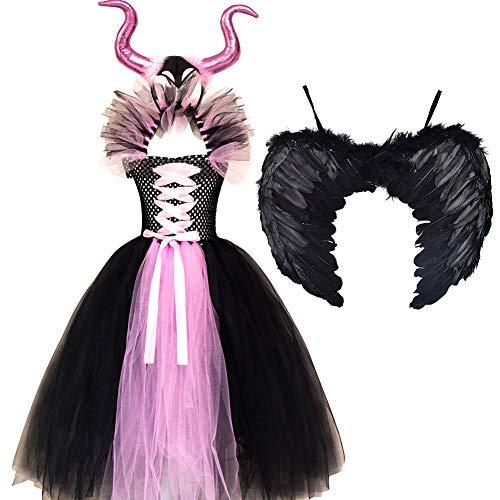 Disfraz de Maléfica Niña Reina Malvada Bruja Cosplay Halloween Carnaval Princesa Vestido Tutú Fiesta Traje Cumpleaños Costume Alas de Angel Rosa (con alas) 6-7 años