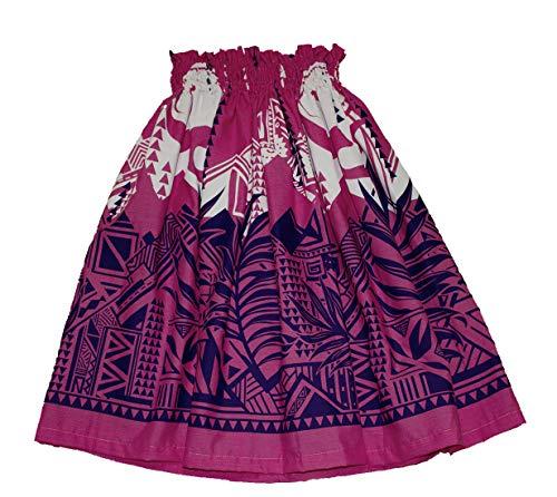 夏威夷青年女孩Pa'u Hula裙,夏威夷呼啦舞裙8至12岁的女孩(热粉红色)