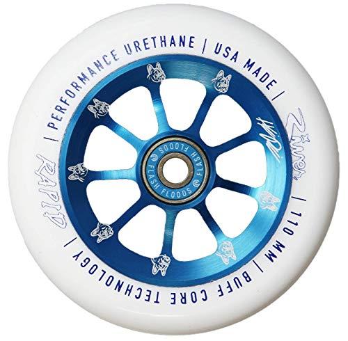 River Wheels Rueda para patinete de acrobacias (110 mm, rodamiento de bolas Flash Flood + pegatina Fantic26), diseño de pirinas, color azul y blanco