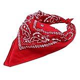 Trebien 12pcs Pañuelos Bandanas de Modelo de Paisley para Cuello/Cabeza Multicolor Múltiple para Mujer y Hombre bufanda por la cabeza unisex-100% Algodón (Pack de 12; Rojo)