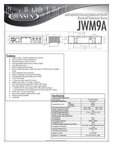 JWM9A AM|FM|DVD|USB|AUX|HDMI|BT| APP Ready Theater-Style Bluetooth Wallmount Stereo w/ App Control, Bluetooth Streaming Audio (A2DP)  Illinois