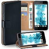 MoEx Premium Book-Hülle Handytasche passend für HTC U Play | Handyhülle mit Kartenfach & Ständer - 360 Grad Schutz Handy Tasche, Schwarz
