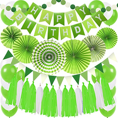 Zerodeco Birthday Party Decoration, Green Happy Birthday Banner with Paper Fans Garland String Triangle Bunting Flag Tissue Tassel and Balloon for Bday Party Supplies Anniversary Decoration