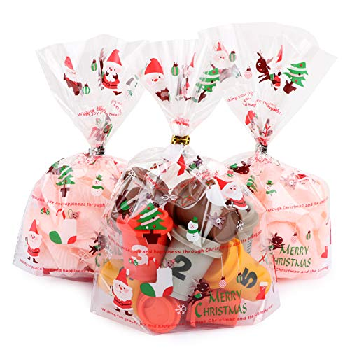 100 Bolsas Regalos Navidad 22 x 16cm Bolsas Navideñas de Plástico con Lazos Decoración Fiesta de Navidad para Caramelos Dulce Chuches Galletas Regalos de Fiesta