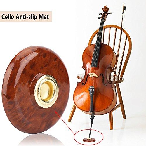 Dilwe Cello Pad, Anti-Rutsch Cello Pad Kunststoff Metall Halter Bodenschutz Musikinstrument Zubehör(Braun)