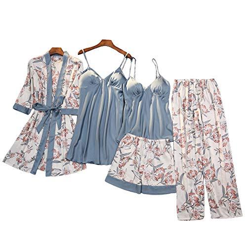 Chongmu - Conjunto de camisón y Pantalones Cortos de Seda para Mujer, con Estampado de Flores, camisón con Almohadillas en el Pecho