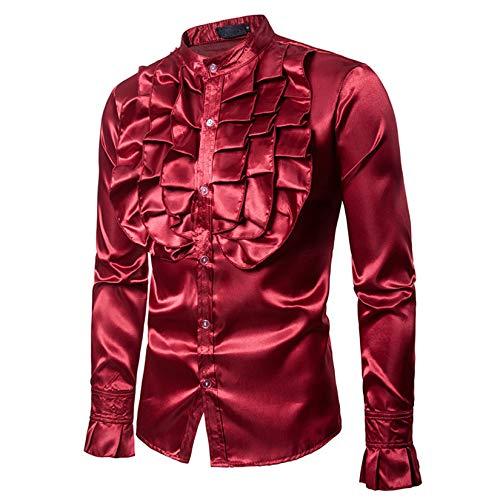 Cofre de Estilo de otoo e Invierno para Hombres, Disfraz de Flor Grande, diseo de Moda, Camisa de Manga Larga con Cuello Alto para Hombres