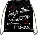Mister Merchandise Turnbeutel natur Rucksack Angels without wings are called best Friend bff gift...