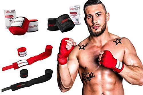 ActiveVikings Boxbandagen 4m mit Klettverschluss Ideal für Jede Kampfsportart | Boxen Kickboxen Jiu Jitsu Muay-Thai MMA (Schwarz)