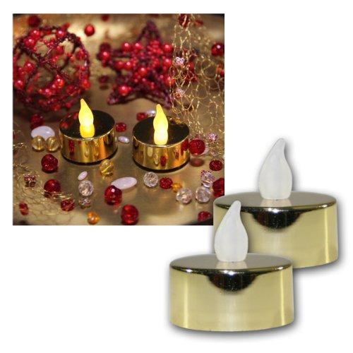 2St.LED-Teelichter flack gold