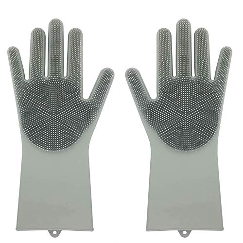 Amuster Silicone Gloves Cleaning Gloves Magic Reusable Cleaning Brush Scrubber Gloves Heat Resistant, One size, grey, 1
