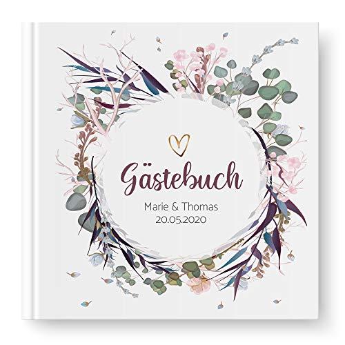 WEDDNG Gästebuch Hochzeit personalisiert mit Namen und Datum, Watercolor, Hochzeitsbuch Vintage...