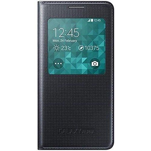 Samsung S-View Schutzhülle Flip Case Cover für Samsung Galaxy Alpha - Schwarz