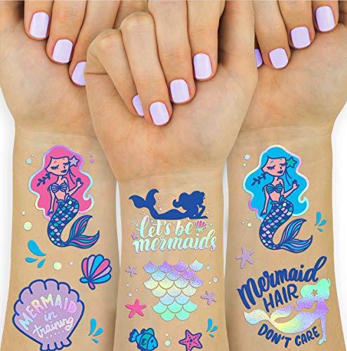 xo, Fetti Mermaid Suministros de fiesta temporales tatuajes para niños – 24 estilos de purpurina | Sirena cumpleaños fiesta Favores, cola de sirena decoraciones + Halloween disfraz