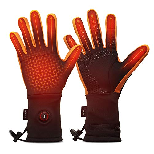 Heated Glove Liners for Men Women - 3 Heating Levels w/Intelligent Control, Rechargeable Battery Thermal Heating Gloves for Outdoor Sports (Orange, XXL