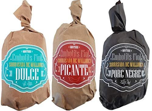 Trio von Sobrasadas de Mallorca Bolles, süß, scharf und schwarz Schwein von etwa 450 Gramm, fast 1,5 kg. von ausgezeichnetem mallorquinischem Produkt