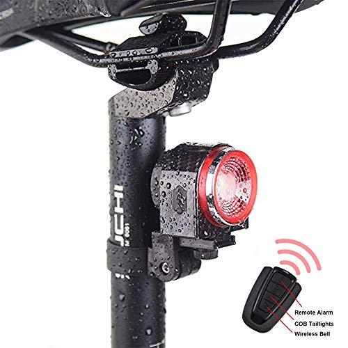 LEIWOOR Luz Trasera Inteligente para Bicicleta, Alarma antirrobo, Recargable, luz Inteligente de percepción e inducción de Freno, buscador de Bicicleta con Mando a Distancia