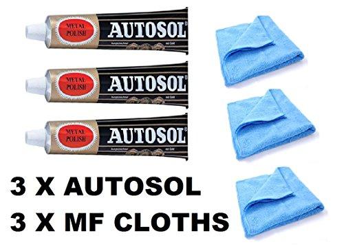 Solvol Autosol - Tubo de pulitura (75ml, 3 unidades) para metal y cromado, con 3 paños de microfibra