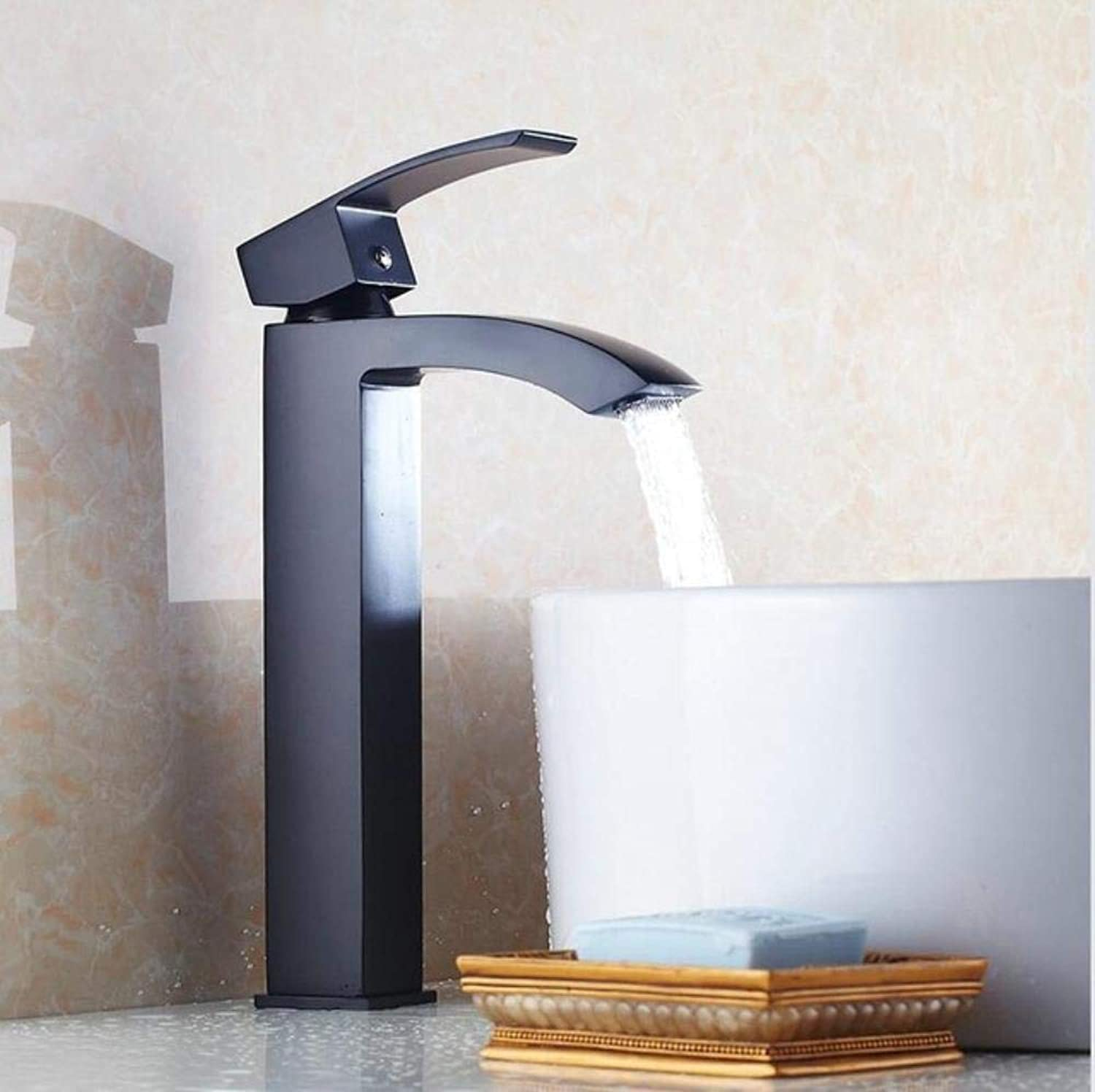 Kai&Guo Tall Basin Faucet Waterfall Bathroom Faucet Single handle Basin Mixer Tap Bath Chrome Black Faucet Brass Sink Water Crane,black tall