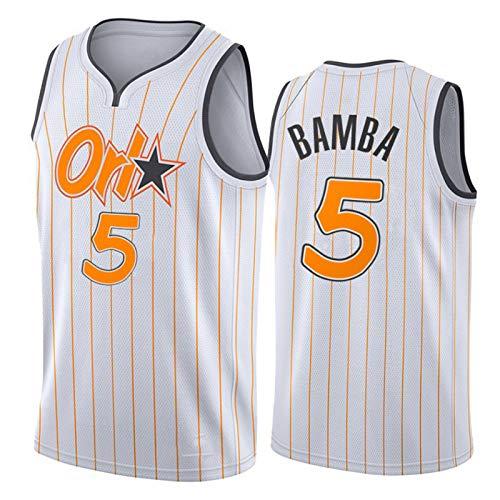 KJX Camiseta de baloncesto para hombre de New Season 2021, Magic 5 # Bamba White City Edition, cómoda camiseta de entrenamiento antiarrugas (S-XXL) M