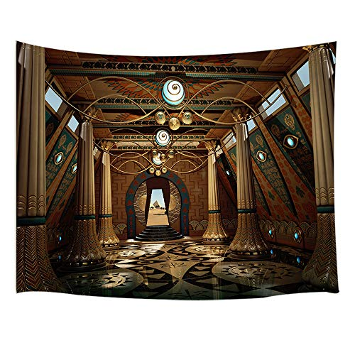 JAWO Egyptian Decor Tapestry Wall Hanging, Ancient Egyptian Temple Interior Murals and Carvings, Polyester Fabric Wall Tapestry for Home Living Room Bedroom Dorm Decor 80W X 60L Inches
