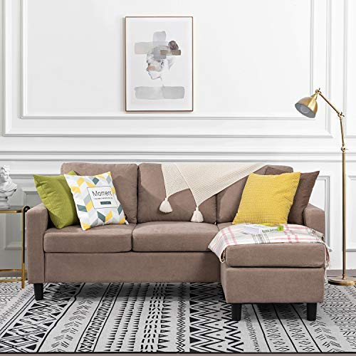 Walsunny Convertible Sectional Sofa for Small Space , L-Shaped Couch with Modern Linen Fabric (Dark Khaki)
