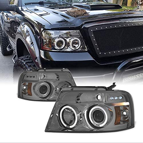 For Ford F150 F-150 Pickup Smoked Smoke Dual Halo LED G2 Projector Headlights Front Lamps Replacement