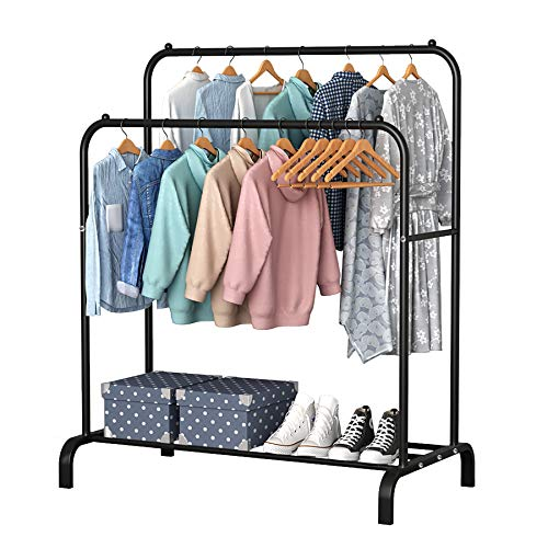 YAYI Drying Rack Metal Garment Rack Freestanding Hanger Double Pole Bedroom Clothing Rack With Lower Storage Shelf for Boxes Shoes,Black