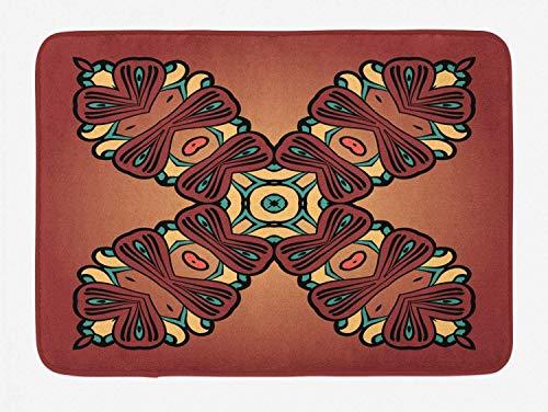 Folk konst badmatta, kulturell vintage form och 4 ändar antik symbol X formad tryck, plysch badrum dekor matta med halkskydd, blekt rödved och pastellbrunt, 15,7 × 23,6 tum