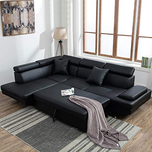 Sectional Sofa for Living Room Sofa Bed Couches and Sofas Sleeper Sofa Faux Leather Sofa Sets Modern Sofa Futon Sofa Contemporary Upholstered Home Furniture with Chaise and Pillows