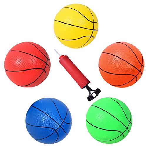 HAPPYMATY 5 Stück Softball Aufblastbarer Bastekball Set Babybälle 4 Zoll Mini Basketbälle für Kinder ab 1 Wasserball mit Pumpe Schwimmbad Spielzeug 10cm