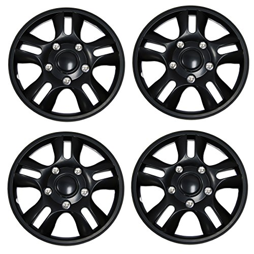 Tuningpros WC3-15-1006-B - Pack of 4 Hubcaps - 15-Inches Style Snap-On (Pop-On) Type Matte Black Wheel Covers Hub-caps