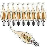 10er-Pack C35 4W Retro Dimmbar Glühfaden LED Kerze Lampe, 2700K Warmweiß 300 Lumen, Ersatz für 30W Glühlampen, E14 Fassung, Flamme Form, Vergoldet Glas, 360° Abstrahlwinkel