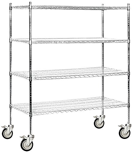 Salsbury Industries Mobile Wire Shelving Unit, 60-Inch Wide by 69-Inch High by 24-Inch Deep, Chrome