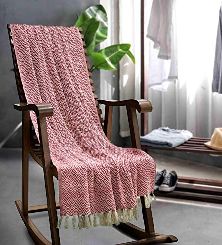 CRAFKART Cotton Throw Blanket 65x50 - Red Beautifully Knitted Chevron Pattern Throw Blanket with Fringe - Lightweight Warm Cozy Soft Elegant - Best for Chair Sofa Couch Bed - Home Living Room Decor