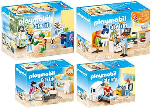 Playmobil® City Life 4er Set 70192 70196 70197 70198 Kinderkrankenzimmer + DREI Fachärzte: Radiologe, Augenarzt & Zahnarzt