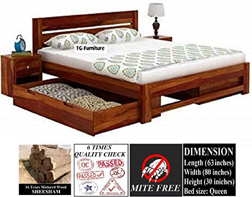 TG Furniture Solid Sheesham Wood Natural Finish Queen Size Bed...