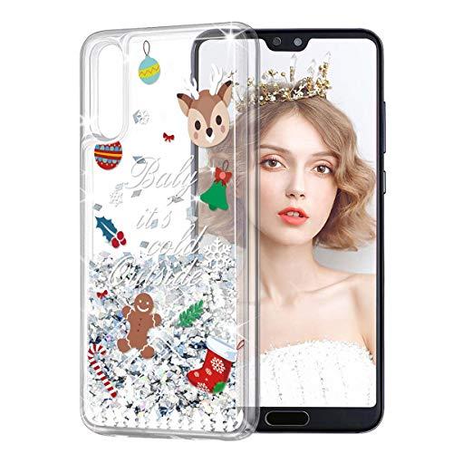 Yoedge Funda para Xiaomi Mi A2 Lite, Glitter Liquida Silicona Cárcasa Navidad con Dibujos Bling Brillante...