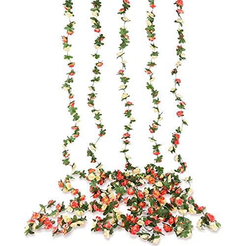 Beferr 5 Stück Blumengirlande Künstlich, Rosen Blumen Girlande Seidenblumen Hängend Reben, für Fahrrad Hochzeit Bogen Party Haus Garten Deko (Champagnerfarben)
