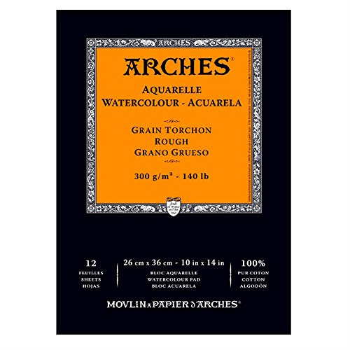 Canson Arches Watercolor Pad, Rough Finish, 140 Pound, 10 x 14 Inch, Natural White, 12 Sheets