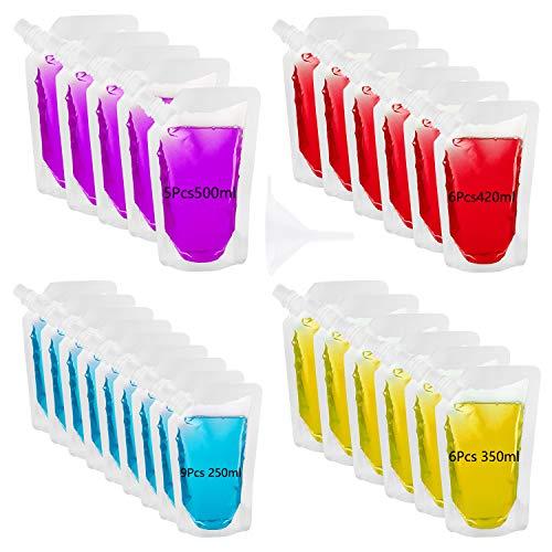 TUPARKA Sacchetti per Bevande in plastica, confezione da 26, sacchetto per liquori riutilizzabile Sacca per bevande richiudibile Boccetta per bevande, imbuto in plastica con imbuto in plastica