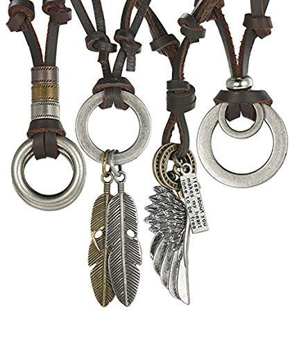 Joocyee 4 Piezas Hechos a Mano Vintage marrón Cuero Genuino Cadena Colgante Collares Ajustable, Collar de cordón de Cuero Vintage, marrón
