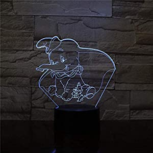 3D Illusion Lamp Led Night Light Dumbo Cute Baby Colors Changing Indoor Decoration Kids Girl Boys Baby Gift Elephant Table Lamp