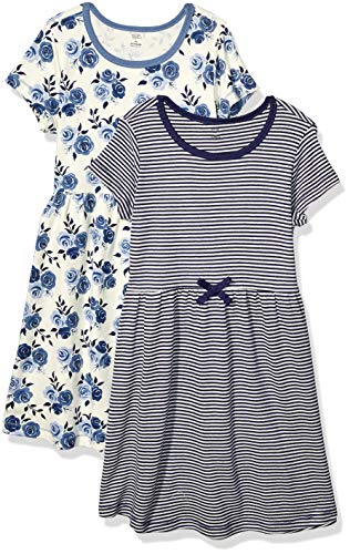 Touched by Nature Girls' Organic Cotton Short-Sleeve Dresses, Navy Floral Youth, 8 Years