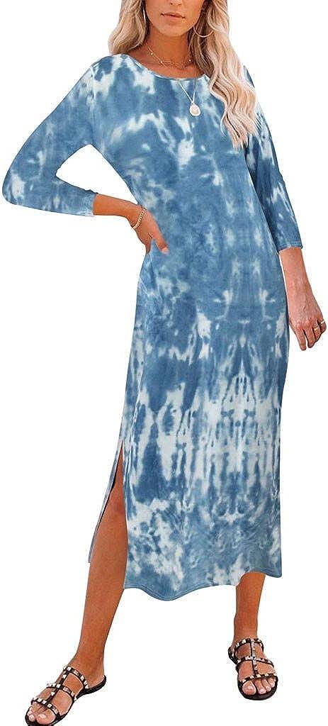 iQKA Womens Tie Dye Print Crewneck 3//4 Sleeve Oversized Long Coverups Side Split Midi Long Shirt Dress with Pocket