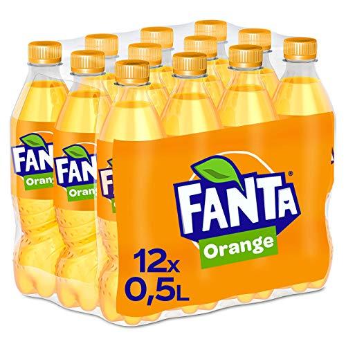 Fanta Orange, Super frische Limonade mit Orangengeschmack und Spaß-Garantie in praktischen Flaschen, EINWEG Flasche (12 x 500 ml)