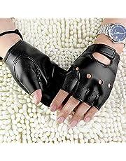 Wination Mens vingerloze handschoenen, kunstlederen slipbestendige halve vinger vingerloze handschoenen handwanten met verstelbare klittenband voor thuis buiten rijden