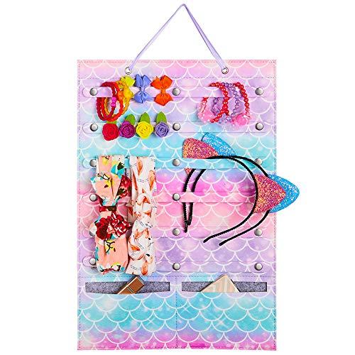Beinou Organizador de soporte de diadema para niñas, organizador para colgar en la pared de fieltro de almacenamiento con lazo para el cabello arcoíris
