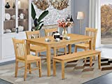 East West Furniture Rectangular Dining Table Set 6 Pc - Wooden Modern Dining Chairs Seat - Oak Finish Dining Room Table and Bench