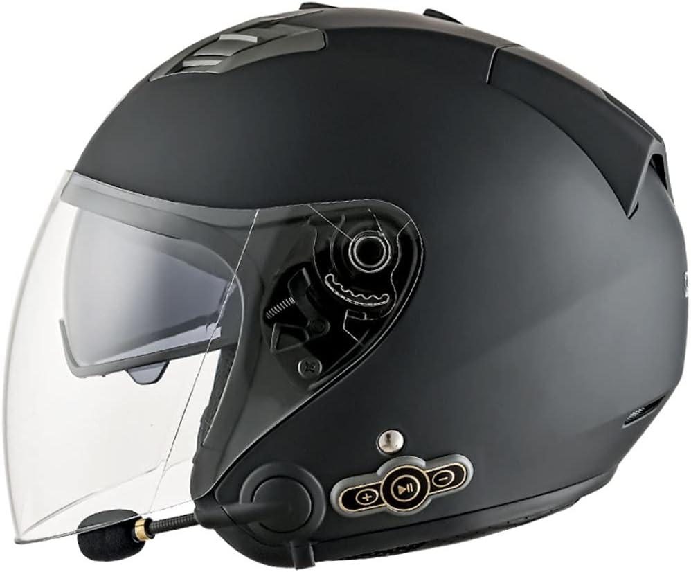Bluetooth Integrado Medio Abierto Casco de Moto ECE/Dot Homologado Casco Moto Scooter Jet para Mujer Hombre Adultos, con un Micrófono Incorporado Doble Visera M~XXL